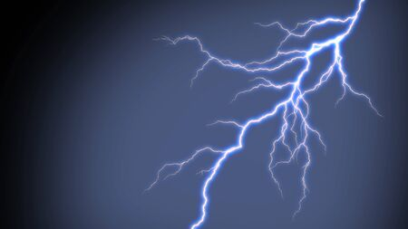 Electric lightning strike on black background. Stok Fotoğraf
