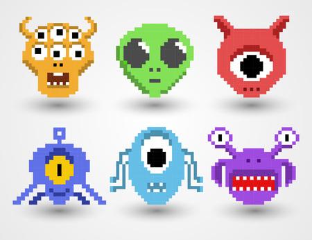Pixel art aliens isolated vector set