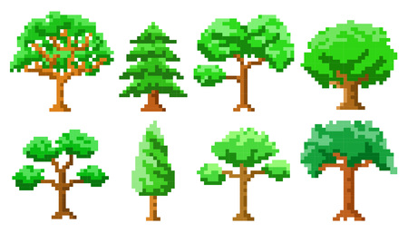Pixel art trees isolated vector set