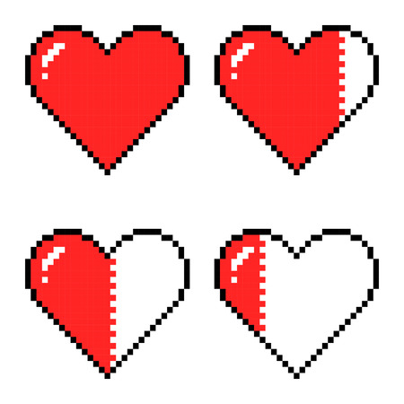 Pixel art hearts for game, different game health indicators Ilustração