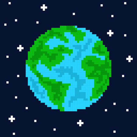 Pixel art planet earth vector illustration