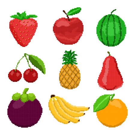 Pixel fruits for games icons Stock Illustratie