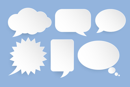 Abstract vector white speech bubbles set on blue background.