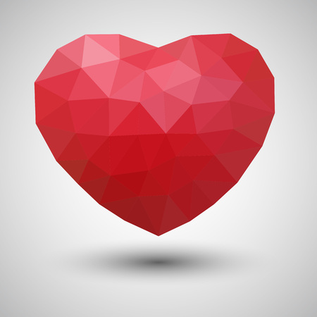 Abstract Polygonal Heart Shape - Vector Illustration Stok Fotoğraf - 100840995