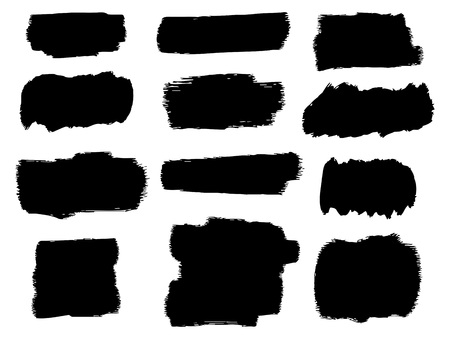 Black ink vector brush strokes Stock Illustratie