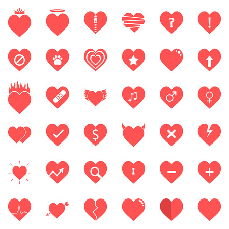 Heart Icons Set in Vector illustration Stock Illustratie