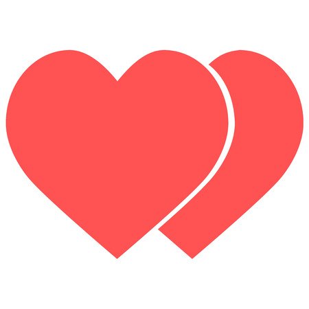 Two hearts icon, vector isolated love red smbol. Ilustração