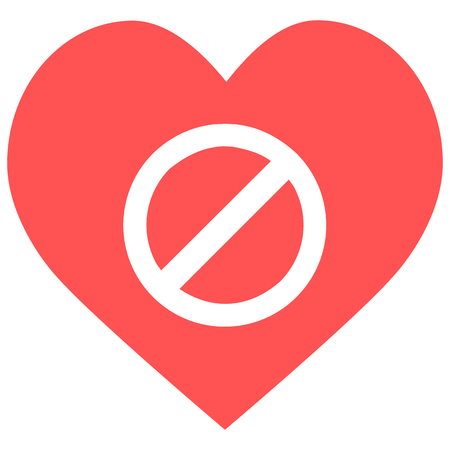 heart prohibited icon Stock Illustratie