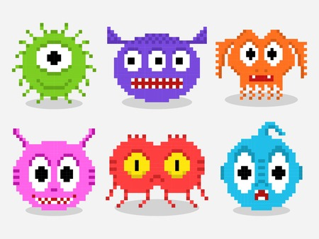 Pixel art aliens isolated vector set