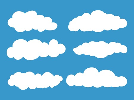 Set of Cloud isolated on blue background.