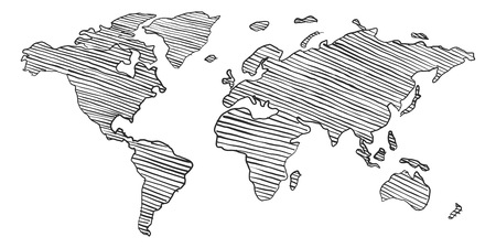 Scribble sketch of World map Stok Fotoğraf - 122688147