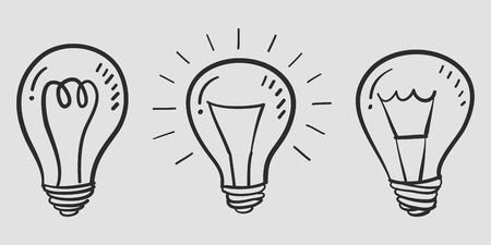 Hand drawn light bulb vector Stock Illustratie
