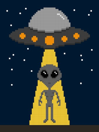 Pixel art alien invasion on earth Stok Fotoğraf - 122688151
