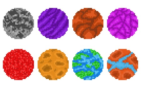 Pixel art planets isolated vector set