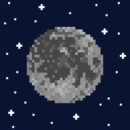 Pixel art moon and stars. Vector illustration Stock Illustratie