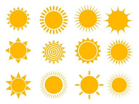 Sun icon set, vector illustration Stock Illustratie