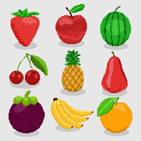 Pixel fruits for games icons high detailed vector set 向量圖像