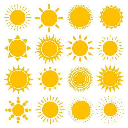 Conjunto de iconos de sol, ilustración vectorial