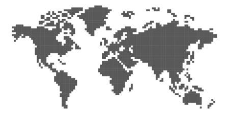 World map pixel art Çizim