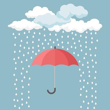 Parapluie rouge avec des gouttes de pluie Vecteurs