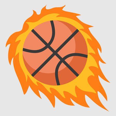 Fire basketball vector icon. flat design Vettoriali