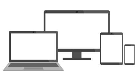 Satz elektronischer Geräte - Laptop, Desktop-Computer, Tablet und Smartphone