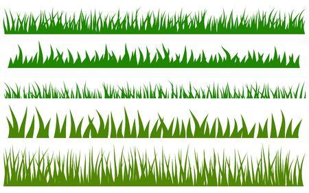Conjunto de vector de hierba verde