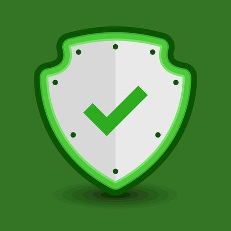 Check mark shield vector icon flat design Illustration