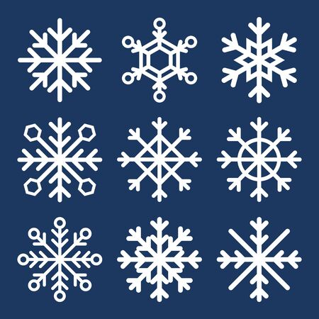 Set of vector snowflakes on dark blue background