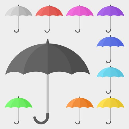 Multicolored Umbrella Icon Set Illusztráció