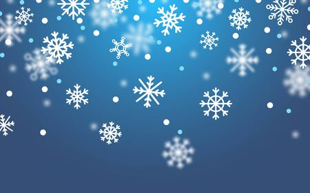 Falling snow on dark blue background