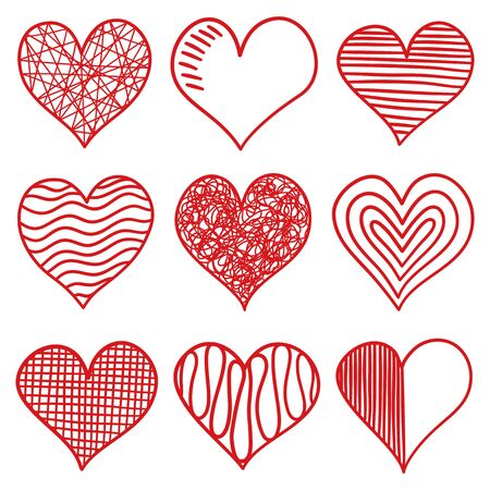 Set of hand drawn hearts vector icon.
