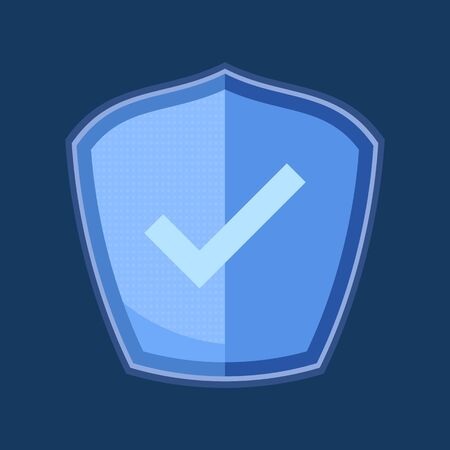 Check mark shield vector icon flat design 일러스트