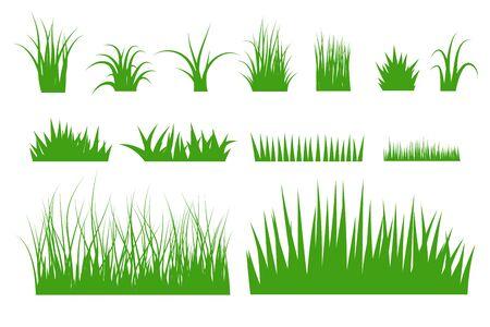 Green grass vector set. Vettoriali