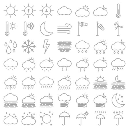 Vector set of weather line icons 일러스트