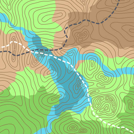 Vector illustration of topographic map with forest and streams