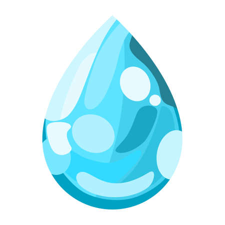 Blue water drop icon vector in flat design