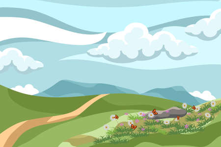 Vector illustration of beautiful summer landscape with flowers