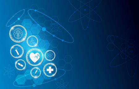 Medical health care science innovation concept pattern background.