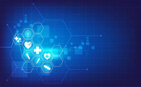 医療医療科学イノベーションコンセプトパターン背景 ベクターイラストレーション