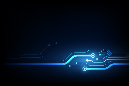 abstract vector background with high tech blue circuit board.