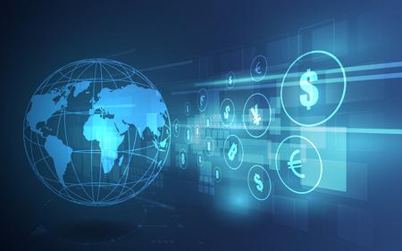 Trasferimento di denaro. Valuta globale. Borsa valori. Illustrazione vettoriale d'archivio.