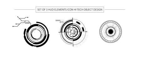 abstract set of 3 HUD elements icon hi tech object design