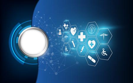vecteur, résumé, soins de santé, science, médical, icône, concept, fond Vecteurs