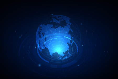 Best Internet Concept of global business. Globe, glowing lines on technological background. Electronics, Wi-Fi, rays, symbols Internet, television, mobile and satellite communications Illustration