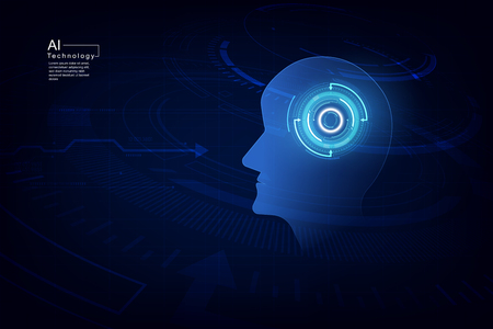 Artificial intelligence. AI digital technology in future. Virtual concept. vector illustration background. Illustration