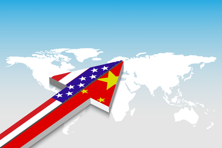 USA and China trade and  arrow. Partnership, merger, alliance concept.  Vector illustrationnts