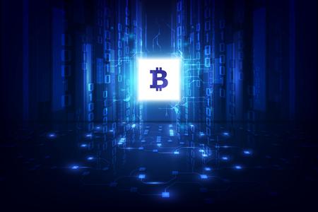 Bitcoin astratto di valuta digitale con blockchain, illustrazione vettoriale Vettoriali
