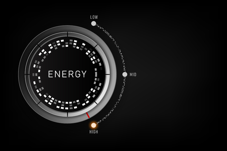 High Energy level concept - Efficiency level control button on high position. vector illustration Ilustração