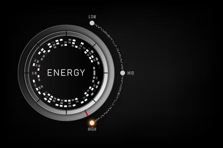 Konzept des hohen Energieniveaus - Kontrollknopf für das Effizienzniveau auf hoher Position. Vektor-Illustration Vektorgrafik